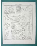 MYTHOLOGY Gods of Seas Thetis Nereides Neptune Dolphin - 1825 Antique Print - $16.65