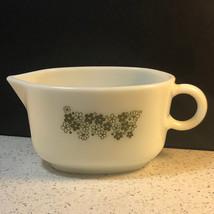 1977 Pyrex Gravy Bowl Corning Usa Green White Flowers Floral Art Deco Glassware - $29.65