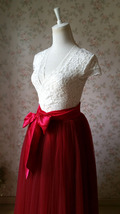 Adult Long Red Tulle Skirt 4-Layered Floor Length Tulle Skirt Plus Size image 5