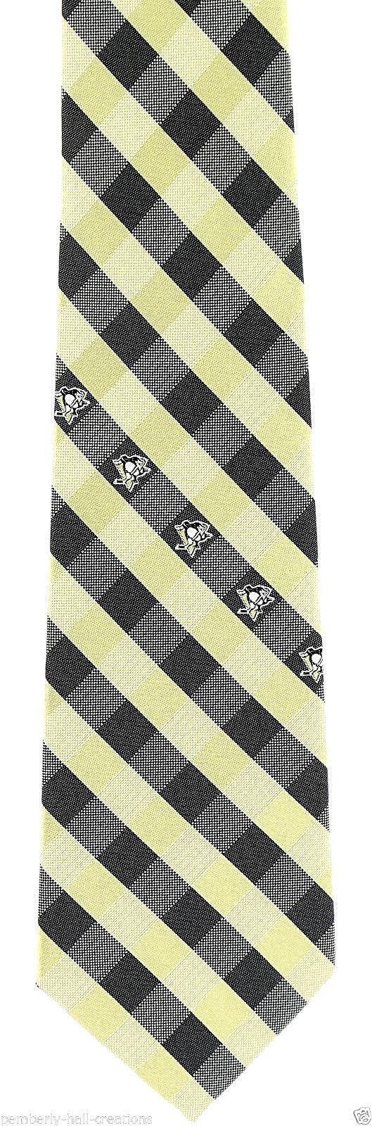 Pittsburgh Penguins Men's Necktie Licensed NHL Ice Hockey Checks Black Neck Tie
