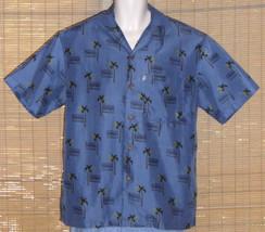 Sunset Breeze Hawaiian Shirt Blue Black Palm Trees Microfiber Size Medium - $19.79