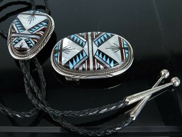 Vintage Native American Sterling Inlay Belt buckle and Bolo tie - $604.75