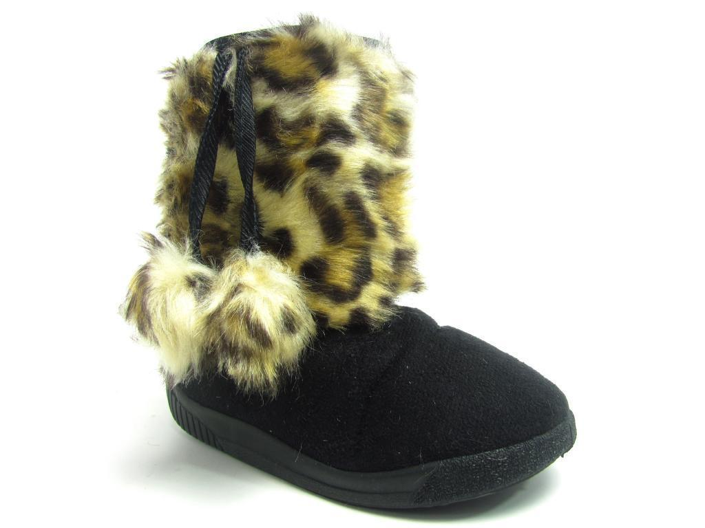 Boys Girls C*J Snow Proof Red//Black Hook /& Loop fasteners Faux Fur Lined Boots