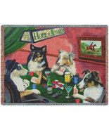 Home of Aussies Australian Shepherd Throw Blanket Four Dogs Playing Poke... - $107.91