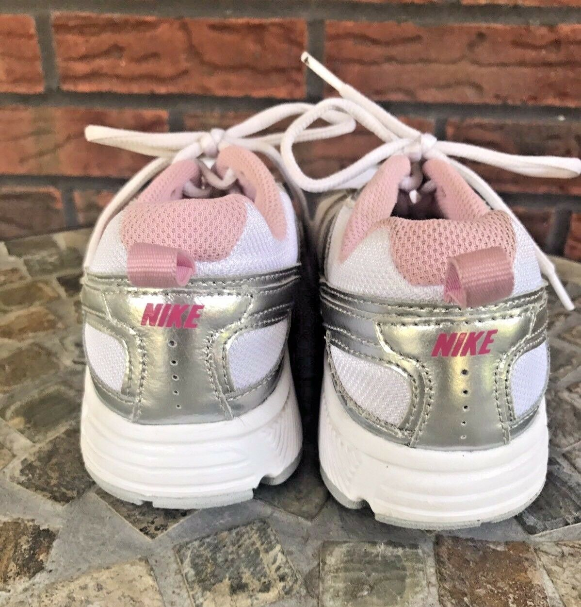 Nike Dart Shoes Size 4.5Y Running Workout Sneakers Pink White Silver Trainers