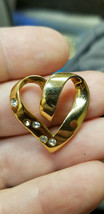 """1"""" Open Swirl Heart Pendant Charm Fashion MAYBE Gold Plated? Stamped Rom... - $23.38"""