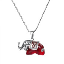 U7 Necklace Cute Red Stone Elephant Pendant & Chain Gold/Silver Color 20... - $14.30