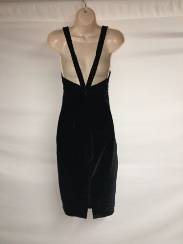 Express Dress Womens Size 4 Black Velour Sexy Plunge NWD image 5