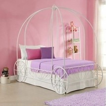 Girls White Twin Size Metal Canopy Bed Frame Princess Carriage Headboard... - $308.78
