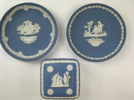 "Lot of 3 Wedgwood Mothers Day Plates 1977 1978 Trinket Box 4"" Blue White Jasper - $37.05"
