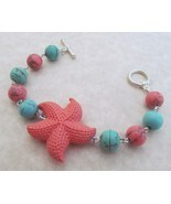 Starfish Coral & Turquoise Beaded Bracelet, Beach Bracelet, Seashell Bra... - $10.00