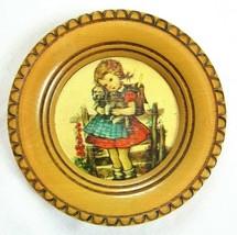 "Vintage Hummel 6.5"" Round Wood Wall Plaque School Girl w/ Puppy - $12.99"