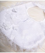 KEEPSAKE Infant Baby Girls Christening BIB White Roses and a Flower NWT NEW - $36.06
