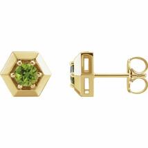 Peridot Geometric Earrings In 14K Yellow Gold - $296.99