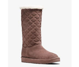 Michael Kors MK Dusty Rose Quilted Suede Fur Winter Boots Shoes Flats 6 NIB - $119.99
