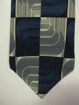 GORGEOUS Jhane Barnes Blue and Silver Squares Made in Japan Silk Tie - $22.49