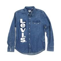 Levi's Unbasic Sawtooth Denim Western Shirt Size Medium Blue White Big Logo - $39.99