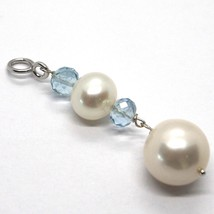 18K WHITE GOLD PENDANT WITH FACETED AQUAMARINE AND BIG WHITE ROUND PEARLS image 2