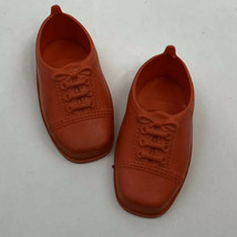 Vintage 1971 Ideal Toy Doll Shoes 2 7/8 Inch Long Flexible Plastic Red - $29.99