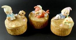 HOMCO Pixie Elf Gnome Trinket Boxes w/ Mushrooms Set of 3 Vintage  - $24.74