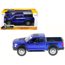 2017 Ford F-150 Raptor Pickup Truck Blue 1/24 Diecast Model Car by Jada ... - $33.79