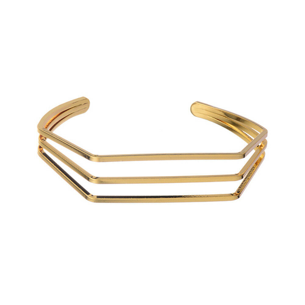 Primary image for Geometric Triple Wire Bangle Bracelet 18k Gold NEW