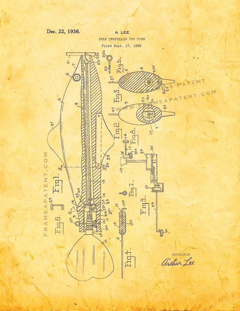 Primary image for Self Propelled Toy Fish Patent Print - Golden Look