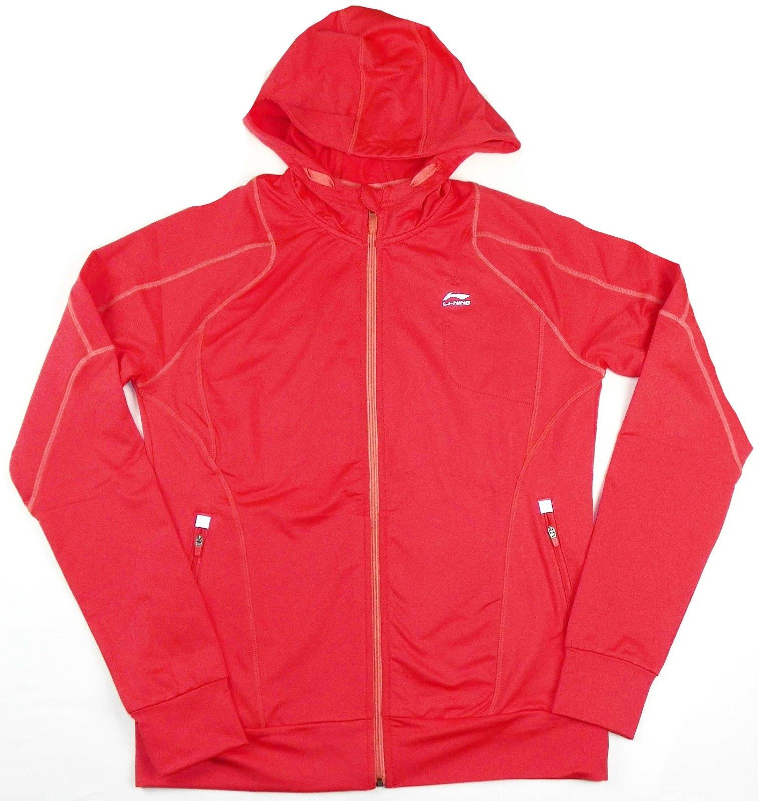 Women's Large Jacket Li-Ning Full Zip Athletic Fitness Yoga Running NEW Coral