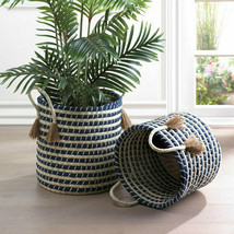 """Braided Seagrass Basket Set of Two 15"""" and 13"""" Blue and Beige Storage Display - $128.69"""
