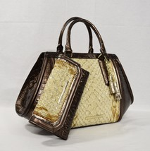 NWT SET of Brahmin Arden Satchel/Shoulder Bag + Checkbook Wallet Honey C... - $549.00