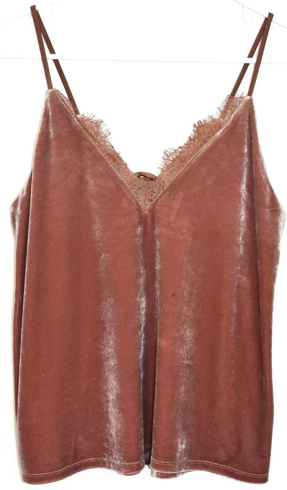 Express Women's Rosewood Pink Lace Trim Velvet Camisole Cami Tank Top Size S