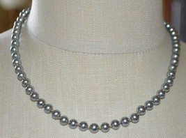 Vendome Silver Tone Faux Pearl Grey Gray Glass Bead Beaded Necklace - $33.66