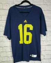 Adidas Jersey Size M Mens Blue Michigan V Neck Short Sleeve Shirt - $50.60