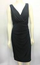 Lauren Ralph Lauren 10 Black Sleeveless Shirred LBD Cocktail Dress Knee-... - $56.84