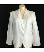 NEW Chicos 3 Plus Linen Blazer Jacket Antique White Long Sl 2 Pocket Wor... - $49.95