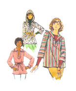 70s Vintage Butterick Sewing Pattern 4445 Misses Pullover Top Tunic Hood... - $7.95