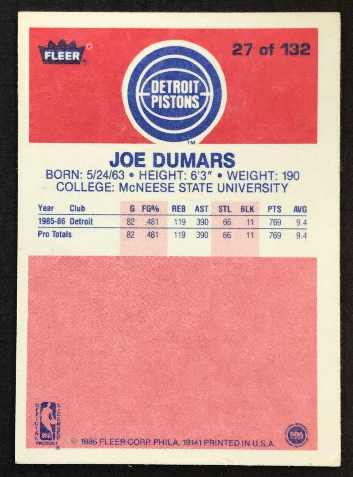 1986-87 Fleer Joe Dumars ROOKIE #27 Detroit Pistons RC