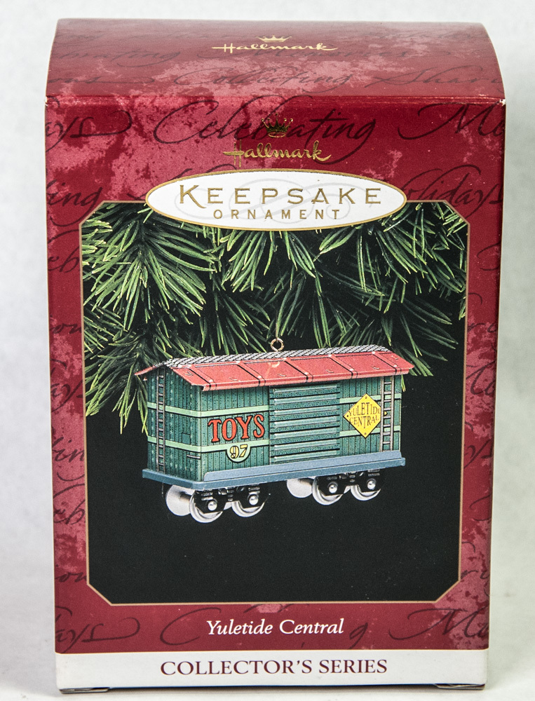Primary image for Hallmark Keepsake Ornament Yuletide Central Boxcar 1997 Pressed Tin Train Car