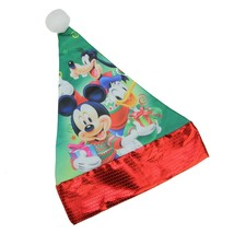 "Disney 15"" Disney Mickey Mouse Friends Children's Green Santa Hat Red Trim - $8.65"