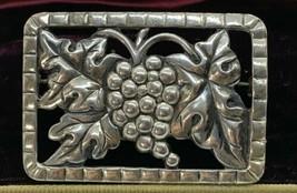 Vintage 1940's Grapes & Grape Leaf Leaves Rectangular Brooch Pin - $33.76