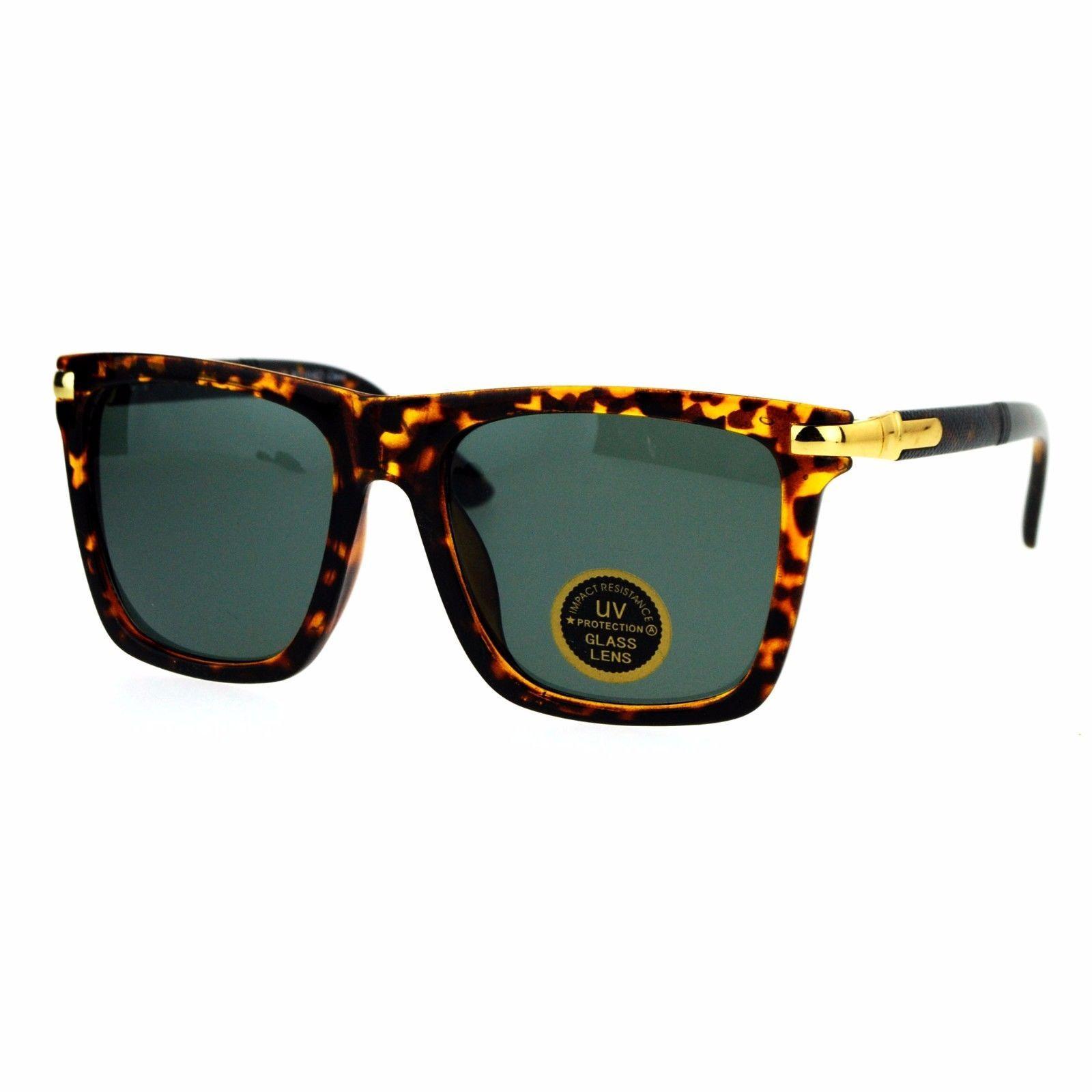 Impact Resistant Glass Lens Sunglasses Stylish Fashion Square Frame