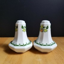 Johnson Brothers Greenfield Salt & Pepper Shaker Set White Green Mosaic - $14.80