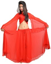 RED Halloween Belly Dance Costume Set for Gypsy Tribal ATS Dance (Skirt+... - $23.86