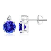 1.8ct Round Best AAA Tanzanite Diamond Stud Earrings 14k Gold/Platinum/S... - $845.84+