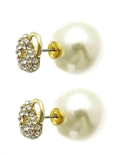 Rhinestone Heart Shaped Lock Ball Earrings - Double Sided (Goldtone / Cream Ball
