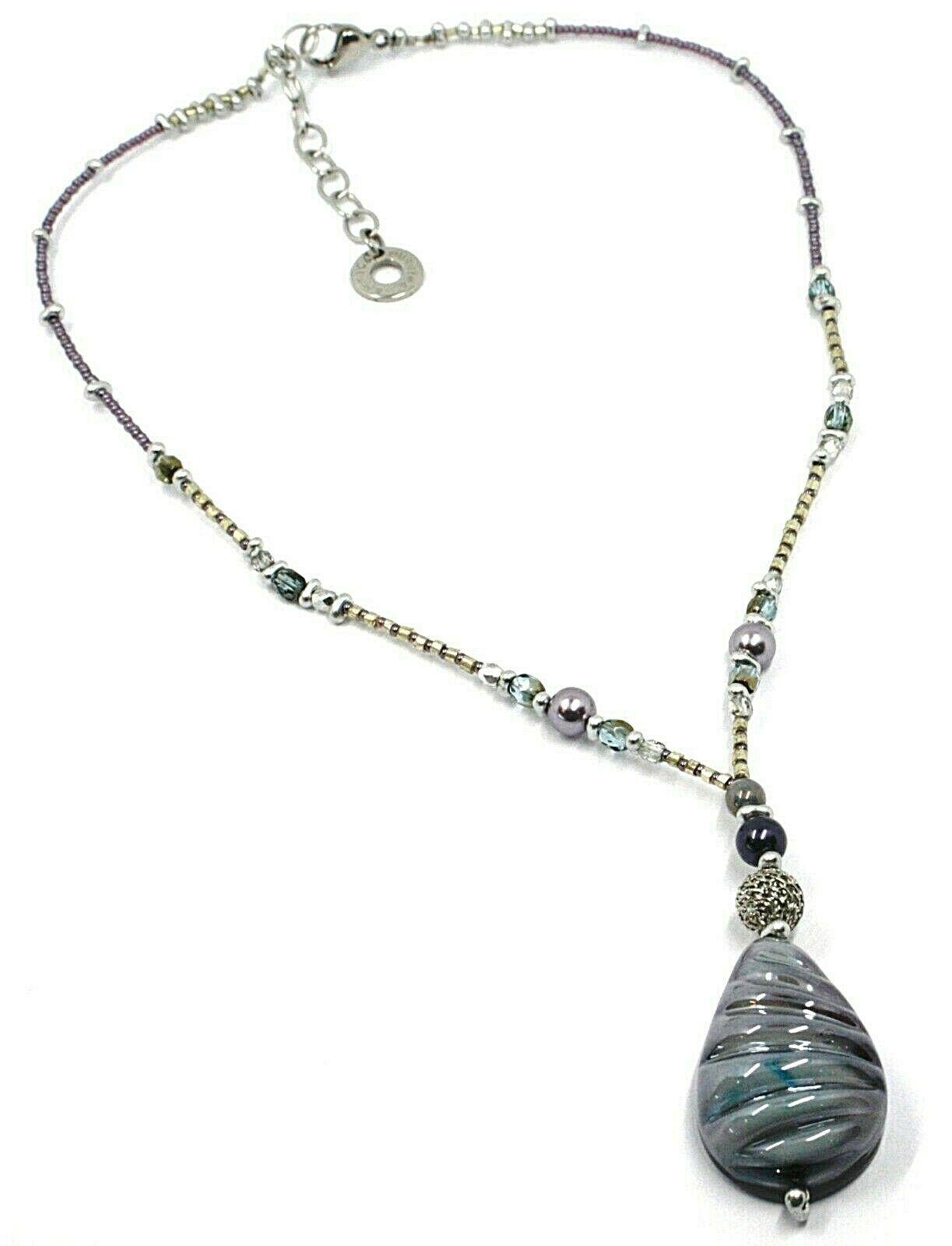 Halskette Antica Murrina Venezia, CO860A05, Tropf Anhänger, Violet Blau