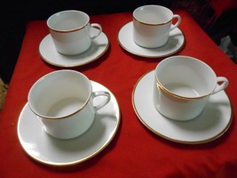 """Great Set of 4 WALLACE SILVERSMITH """"Gold Plume"""" CUPS & SAUCERS - $13.57"""