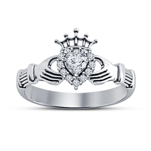 Heart Shape Sim Diamond 14k White Gold Plated 925 Silver Wedding Claddagh Ring