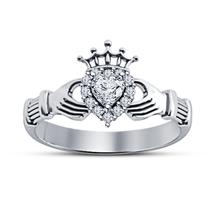Heart Shape Sim Diamond 14k White Gold Plated 925 Silver Wedding Claddagh Ring - $62.89