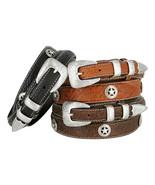 Western Silver Engraved Texas Ranger Star Genuine Bison Leather Belt - $46.48+